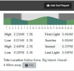 tide chart for kahaluu bay in Kona on the Big Island of Hawaii